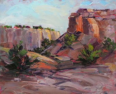 """Red Rock, Impressionist Colorado Landscape Painting, """"Avenue of the Big Cats"""" by Colorado Contemporary Fine Artist Jody Ahrens"""