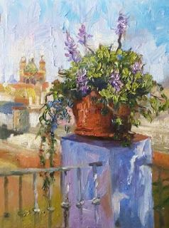 """""""Potted Delights"""" Sevilla Palette Knife Painting by Niki Gulley"""