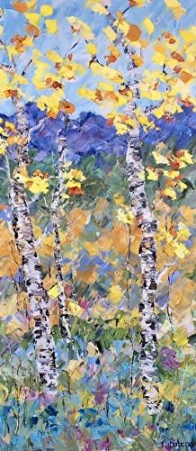 "Palette Knife Aspen Tree Landscape Art Painting ""Autumn Sonata"" by Colorado Impressionist Judith Babcock"