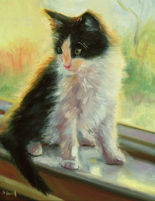 "Cat Painting, Feline Fine Art Oil Painting ""Diamond Discovers the Window"" by Texas Artist Debra Hurd"