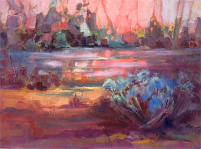 "Abstract Landscape, Contemporary Impressionist Landscape Painting,Colorado Landscape, Fine Art Oil Painting,""William's Pond"