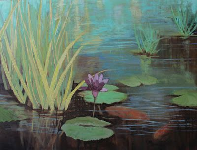 "Lily Pond, Fine Art Oil Painting ""THE POND"" by Colorado Artist Susan Fowler"