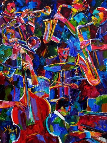 "Original Colorful Jazz Art Music Painting ""Magic Seven"" by Texas Artist Debra Hurd"