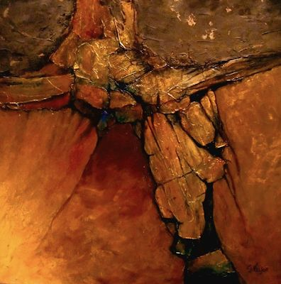 "Geologic Abstract Fine Art Print ""Midas Touch"" by Colorado Mixed Media Artist Carol Nelson Fine Art"