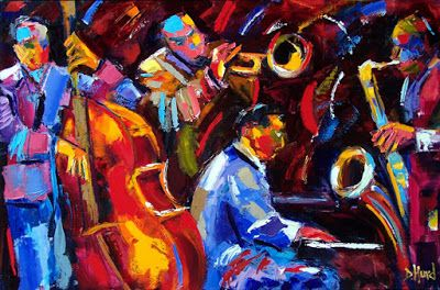 "Abstract Impressionist Art, Jazz Musicians, ""Music Men"" by Debra Hurd"