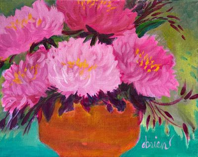 """Contemporary Abstract Bold Expressive Still Life Flower Painting """"Peonies on Blue/Green"""" by Santa Fe Artist Annie O'Brien Gonzales"""