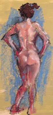 Nude on Pale Green - oil pastel nude drawing