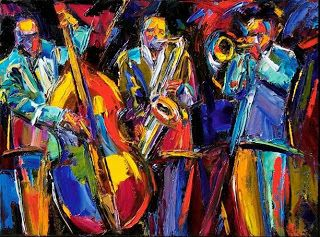 "Abstract Jazz Painting Music Art Bass Trumpet Paintings ""Jumpin"" By Debra Hurd"