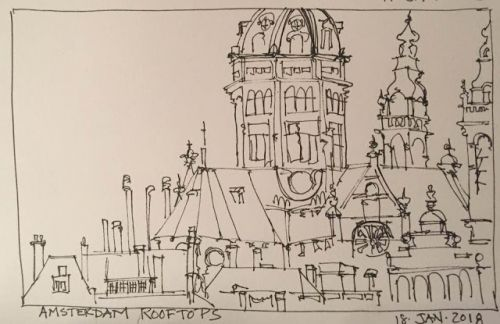 """Day 108 """"Amsterdam Rooftops"""" 6 x 9 pen&ink"""