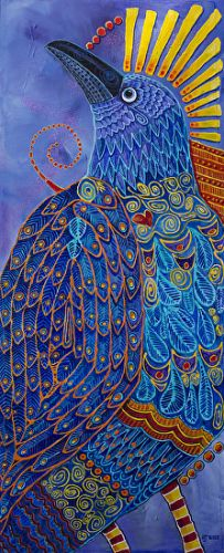 "Contemporary Bird Fine Art Painting, ""RAVEN TOTEM 3, LAPIS LAZULI"" by Colorado Artist Nancee Jean Busse, Painter of the American West"