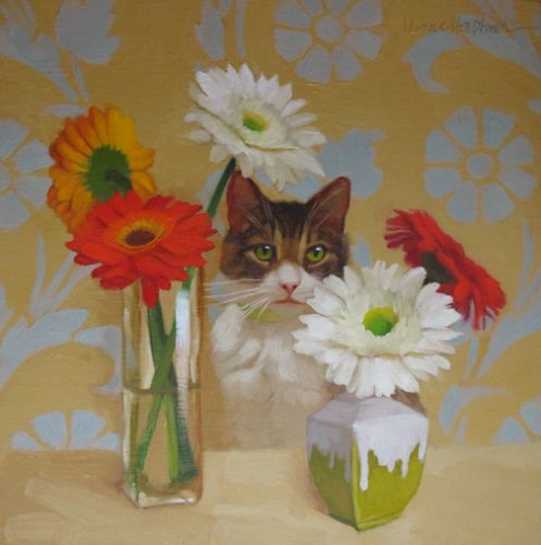 Daisies and Cat