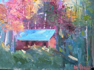 Small Landscape Painting, Cabin in the Woods, Daily Painting, Small Oil Painting, 6x8