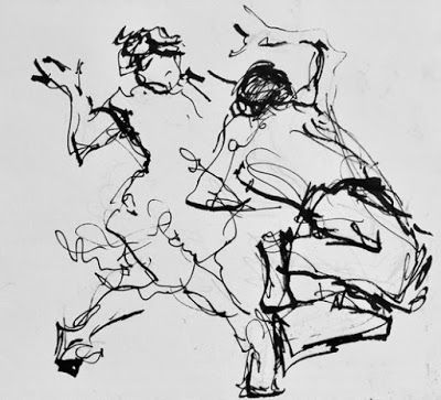 Line Jive - black and white ink figurative drawing of dancers
