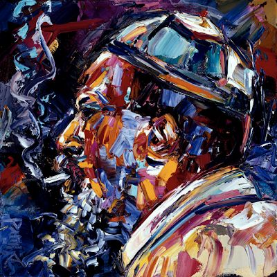 "Jazz Singer, Blues Art, Abstract Portrait, Music Art Paintings ""Thelonious Monk Jazz Faces Series"" by Texas Artist Debra Hurd"
