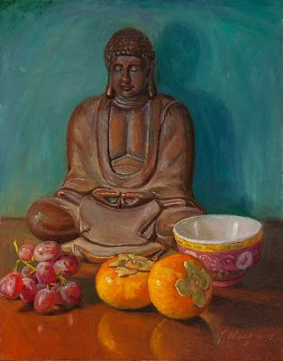 Buddha statue oil painting