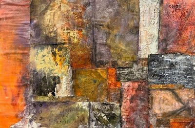 "Abstract Mixed Media Art, Contemporary Painting, ""PAPER QUILT"" by Florida Contemporary Artist Mary Ann Ziegler"