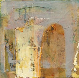 "Contemporary Abstract Mixed Media Painting ""Veiled Answers"" by Intuitive Artist Joan Fullerton"