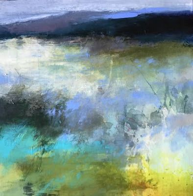 "Contemporary Abstract Landscape Painting ""Invitation"" by Intuitive Artist Joan Fullerton"