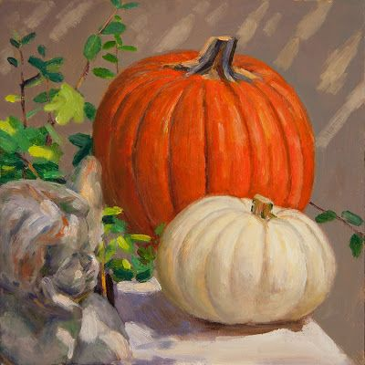 Pumpkins in a corner of yard original oil painting a day