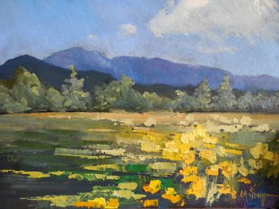 Colorado Landscape Painting, Daily Painting, Small Oil Painting, Mountains and Field Flowers