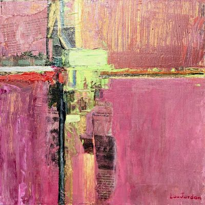 "Abstract Painting, Pink Art, Expressionist Art, Contemporary Painting ""PRINTEMPS I"" by Virginia Contemporary Artist Lou Jordan"