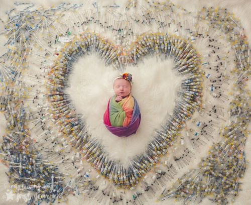 A Newborn Photo with the 1,616 IVF Needles That Led to Her Birth