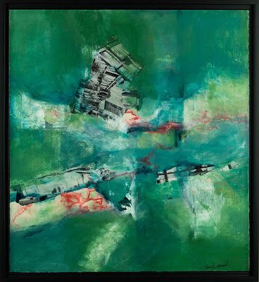"""Green Art, Mixed Media Abstract Painting, Contemporary Art, Expressionism, """"Separation Anxiety"""" by Contemporary Artist Tracy Lupanow"""