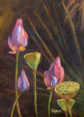 Lotus Buds, 6x8 Oil on Canvas Panel Floral Painting