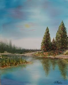 """An Invitation To Fish"" Lake Painting,Trees and Water by by Florida Impressionism Artist Annie St Martin"