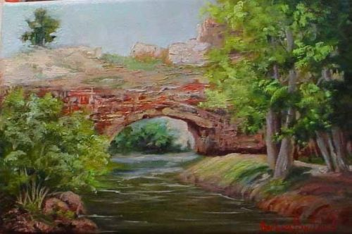 Natural Bridge in Wyoming, landscape, oils, Barbara Haviland