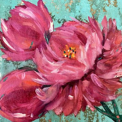 "Peony, Flower Fine Art Oil Panting, ""English Peonies-Vintage Floral Series"" by International Contemporary Artist Kimberly Conrad"