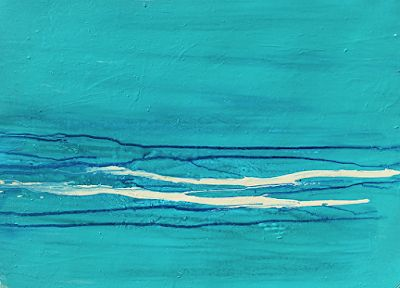 "Abstract Seascape Painting ""Swimmer's Wake"" by California Artist Cecelia Catherine Rappaport"