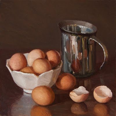 Eggs still life oil painting original direct from the artist contemporary realism food painting a day