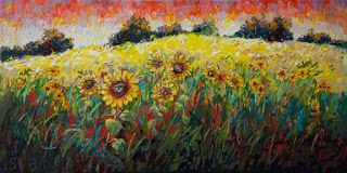 "New ""Sun's Bounty III"" Palette Knife Oil Painting by Contemporary Impressionist Niki Gulley"