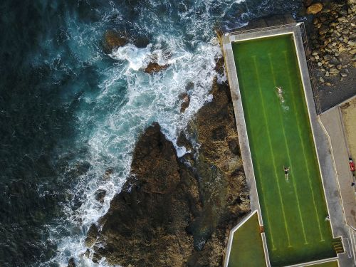Historic Geometric Pools Interrupt Australia's Rocky Coastline in Aerial Shots by Nicole Larkin