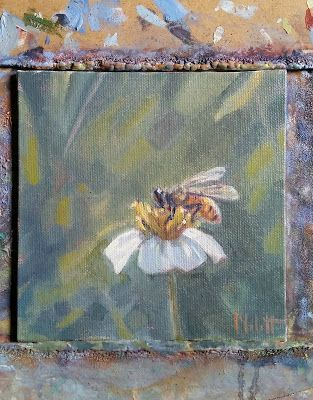 HoneyBee in the Garden Original Oil Painting