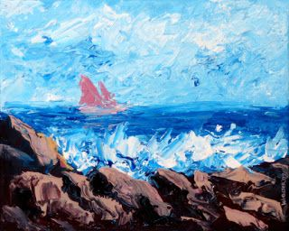 Mark Webster - Sailboat Entering the Bay Acrylic Painting