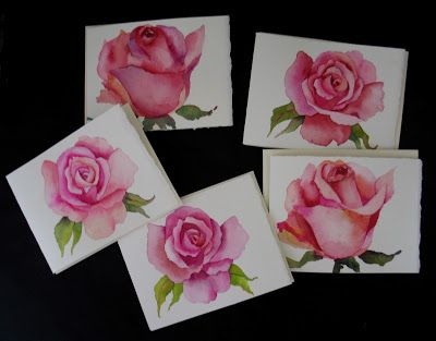 Watercolor Roses Cards - SOLD