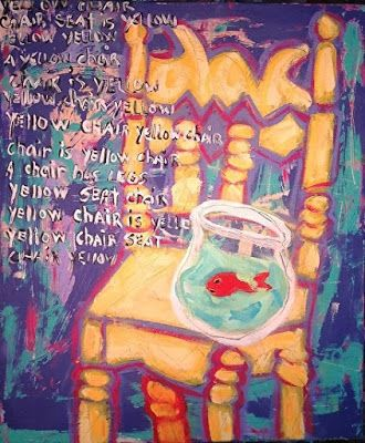 "Abstract , Folk Art, Narrative Art Painting, ""Yellow Chair Painted"" Narrative Art by Santa Fe Artist Judi Goolsby"