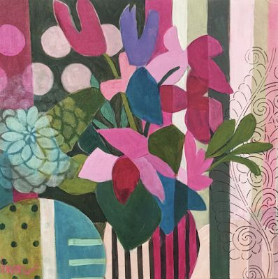 """Contemporary Abstract Bold Expressive Still Life Flower Art Painting """"Tulip Geometry"""" by Santa Fe Artist Annie O'Brien Gonzales"""
