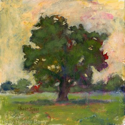 """Small Paintings, Colorful Contemporary Landscape Painting, Trees, Abstract Landscape, Tree, Daily Painter, """"Family Tree"""" by Passionate Purposeful Painter Holly Hunter Berry"""