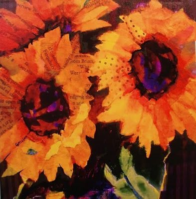"Sunflower Art ""Sunflowers"" by Colorado Mixed Media Abstract Artist Carol Nelson"