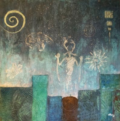 "Contemporary Abstract Mixed Media Mystical Figure Art Painting ""Beginnings:Night"" by Contemporary Arizona Artist Pat Stacy"