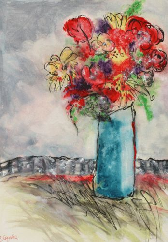 Red Rose in Blue Vase, by Carol Engles