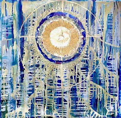 "Contemporary Abstract Painting,Blue Art, Alcohol Ink ""Bread of Life"" by New Orleans Artist Lou Jordan"