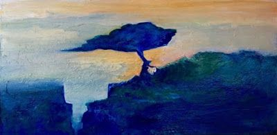 """Abstract Landscape Oil Painting """"Leaf Falling Early Morning"""" by California Artist Cecelia Catherine Rappaport"""
