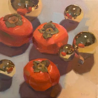 Persimmons and Christmas Ornaments