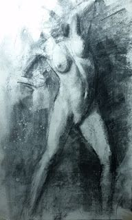 Female nude in motion charcoal drawing