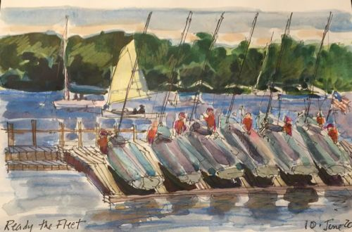 "Day 246 ""Ready the Fleet"" 6 x 9 ink and watercolor"