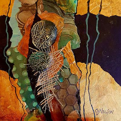 "Mixed Media Abstract Painting, ""Kim's Run"" by Colorado Mixed Media Artist Carol Nelson"